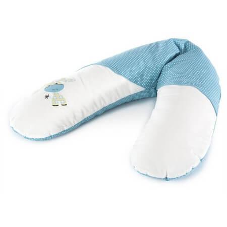 Theraline Stillkissen mit Mikroperlen -Stillkissen - Stillkissen Test - Schwangerschaftskissen und Lagerungskissen hellblau weiß