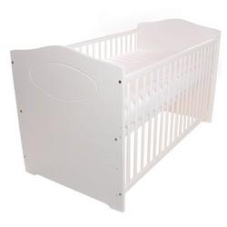 Babybett 140x70 cm, umbaubar, Babyblume KUBA, weiß, inkl. Matratze Dreamer Basic