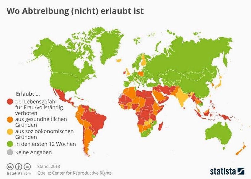 Infografik Schwangerschaftsabbruch Weltweit - Wo Abtreibung erlaubt und nicht erlaubt ist