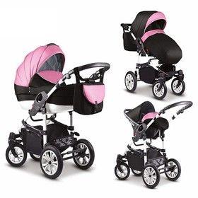 16 teiliges Qualitäts-Kinderwagenset-Reisesystem 3 in 1 COSMO von Mikado