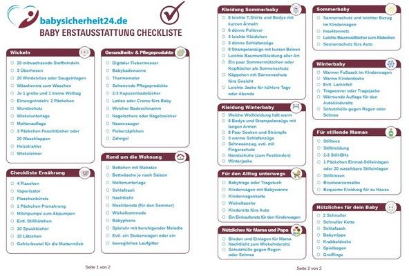Baby Erstausstattung Checkliste download