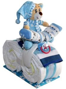 Kleines Windelmotorrad mit Teddy in blau