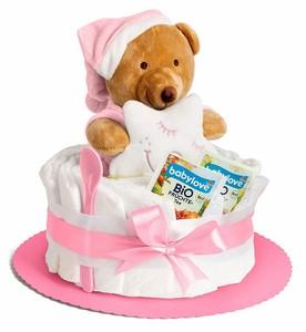 Windeltorte in rosa mit Teddy-Spieluhr